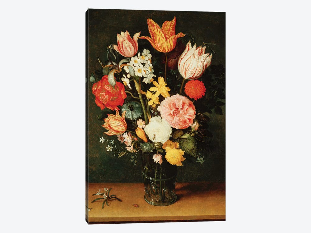 Tulips, Roses and other Flowers in a Glass Vase  by Balthasar van der Ast 1-piece Canvas Art Print