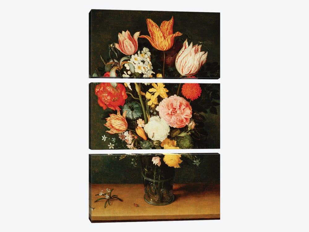 Tulips, Roses and other Flowers in a Glass Vase  by Balthasar van der Ast 3-piece Canvas Art Print