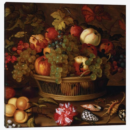 Grapes, Apples, a Peach and Plums in a Basket with Lily of the Valley  Canvas Print #BMN5477} by Balthasar van der Ast Canvas Art Print