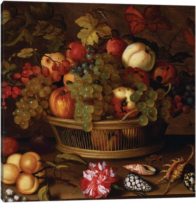 Grapes, Apples, a Peach and Plums in a Basket with Lily of the Valley  Canvas Art Print