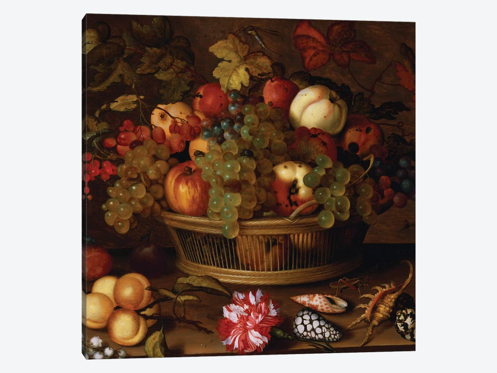 Grapes, Apples, a Peach and Plums in a Basket with Lily of the Valley  by Balthasar van der Ast 1-piece Canvas Wall Art