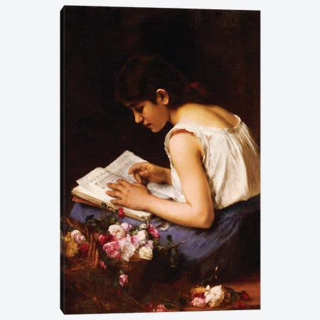 A Girl Reading  Canvas Print #BMN5479} by Alexei Alexevich Harlamoff Canvas Art