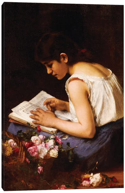 A Girl Reading  Canvas Art Print
