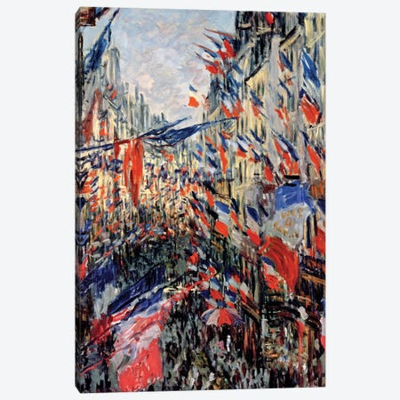 The Rue Saint-Denis, Celebration of June 30, 1878  Canvas Print #BMN547} by Claude Monet Canvas Wall Art