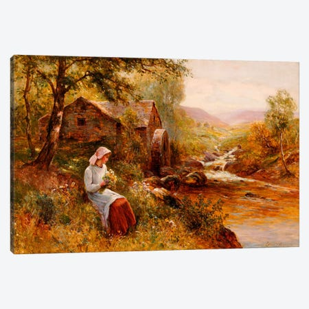 A Young Girl picking Spring Flowers  Canvas Print #BMN5480} by Ernest Walbourn Canvas Art Print
