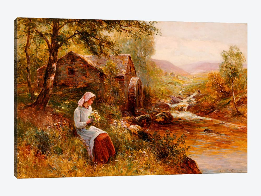 A Young Girl picking Spring Flowers by Ernest Walbourn 1-piece Canvas Artwork
