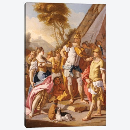 Sisygambis, the mother of Darius, mistaking Hephaestion for Alexander the Great  Canvas Print #BMN5481} by Francesco de Mura Art Print