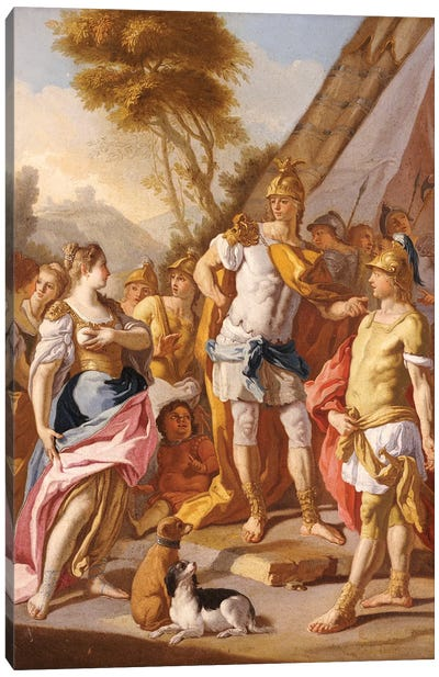 Sisygambis, the mother of Darius, mistaking Hephaestion for Alexander the Great  Canvas Art Print