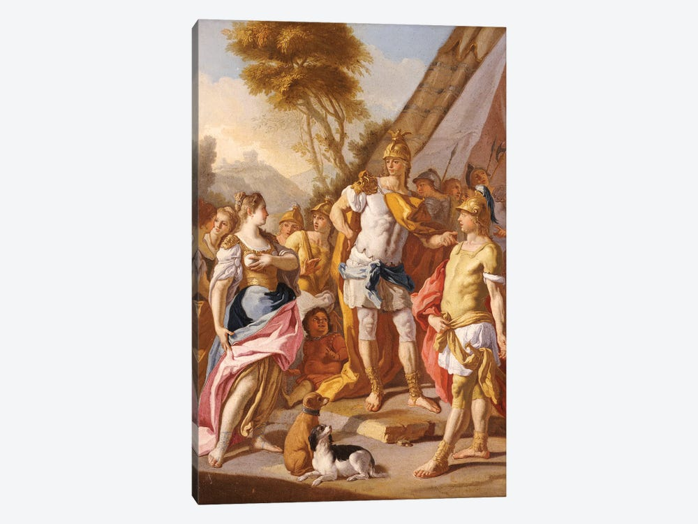 Sisygambis, the mother of Darius, mistaking Hephaestion for Alexander the Great  by Francesco de Mura 1-piece Canvas Print