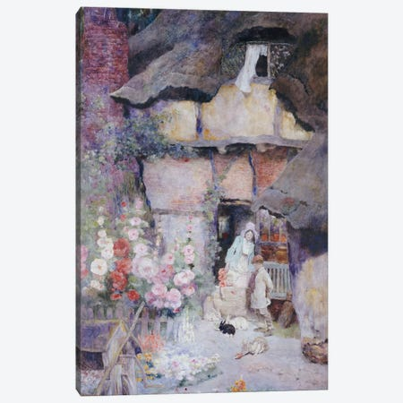 A Mother and Children feeding Rabbits at the Door of a Thatched Cottage  Canvas Print #BMN5488} by David Woodlock Canvas Print