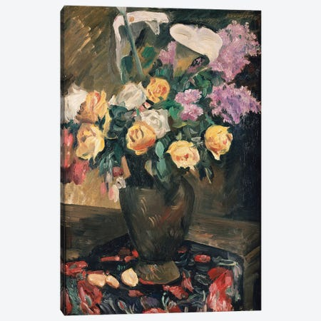 Roses, Lilac and Lilies, 1913  Canvas Print #BMN5490} by Lovis Corinth Canvas Wall Art