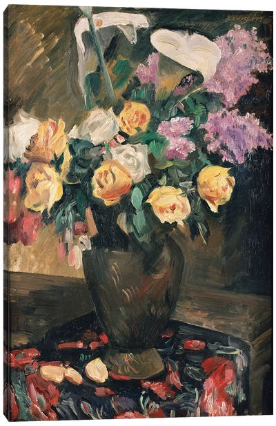 Roses, Lilac and Lilies, 1913  Canvas Art Print