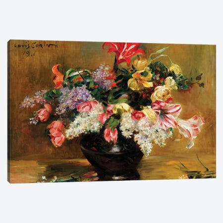 Amaryllis, Lilac and Tulips, 1911  Canvas Print #BMN5491} by Lovis Corinth Canvas Art