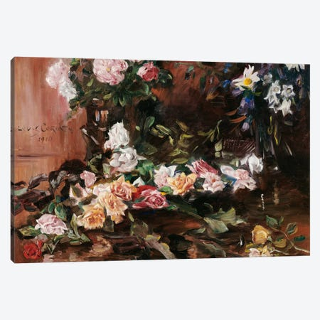Roses, 1910  Canvas Print #BMN5492} by Lovis Corinth Canvas Artwork