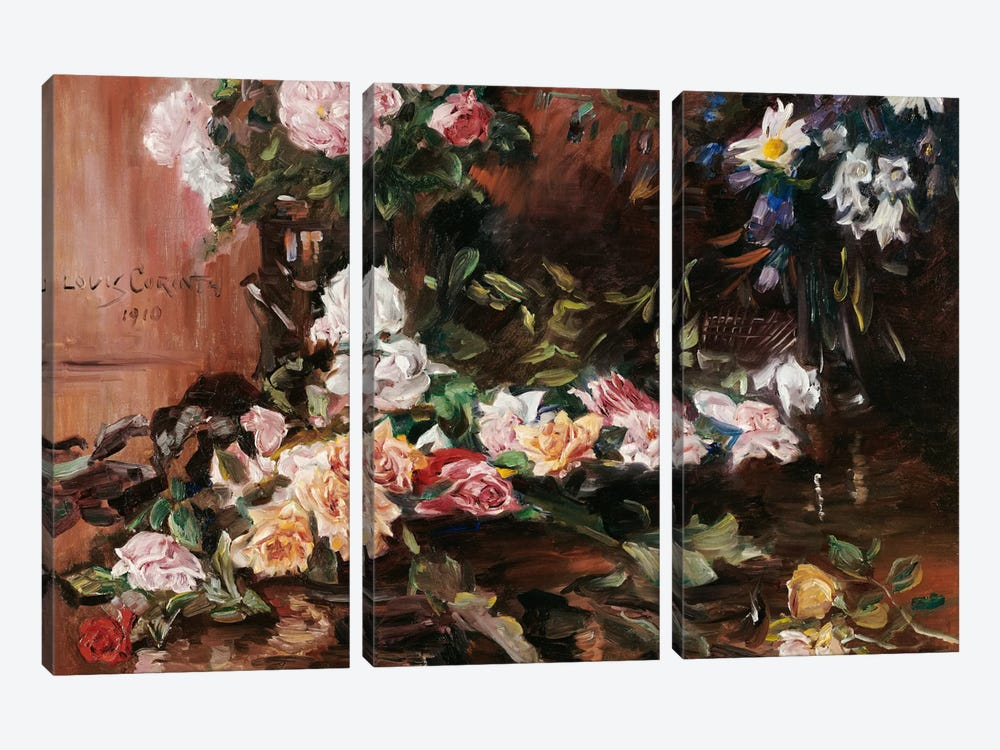 Roses, 1910  by Lovis Corinth 3-piece Canvas Art Print