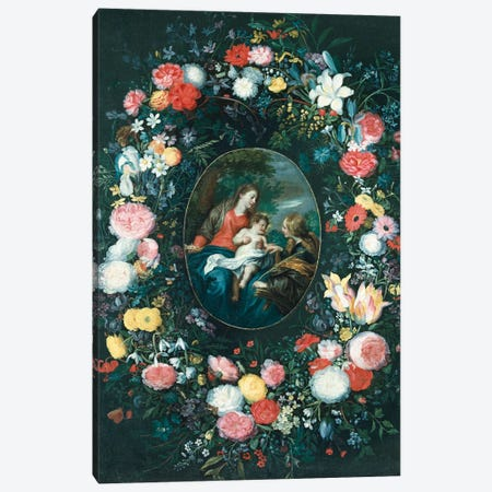 The Mystic Marriage of St. Catherine in a Landscape, surrounded by a Garland of Flowers  Canvas Print #BMN5494} by Jan Brueghel the Younger Canvas Print