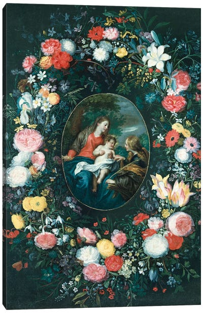 The Mystic Marriage of St. Catherine in a Landscape, surrounded by a Garland of Flowers  Canvas Art Print