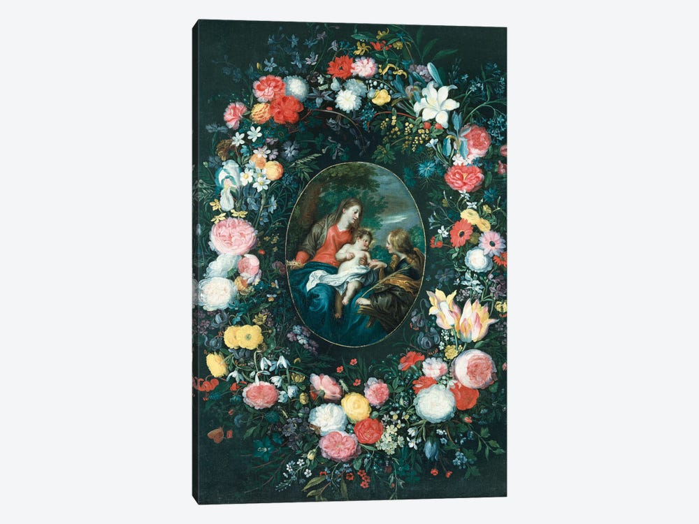 The Mystic Marriage of St. Catherine in a Landscape, surrounded by a Garland of Flowers by Jan Brueghel the Younger 1-piece Canvas Art Print