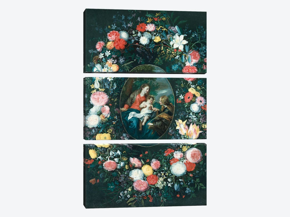The Mystic Marriage of St. Catherine, Surrounded by a Garland of Flowers  by Jan Brueghel the Younger 3-piece Canvas Print