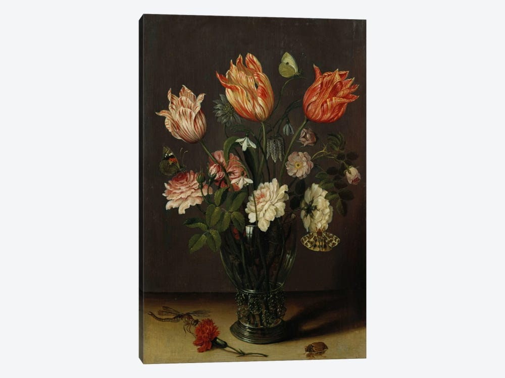 Tulips with other Flowers in a Glass on a Table by Jan Brueghel the Younger 1-piece Canvas Artwork