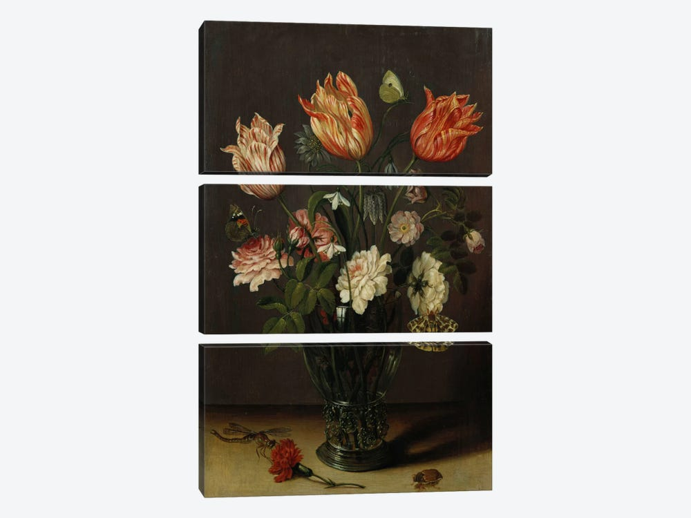 Tulips with other Flowers in a Glass on a Table by Jan Brueghel the Younger 3-piece Canvas Wall Art