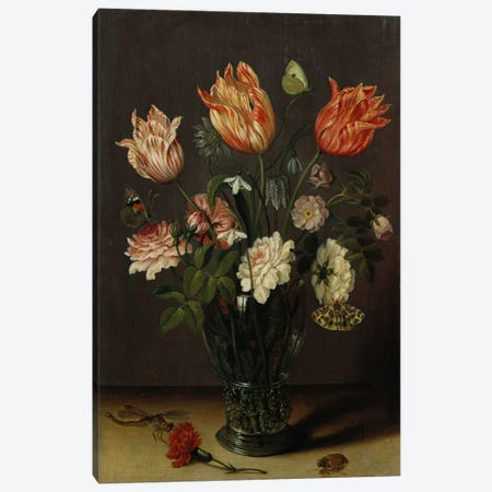 Tulips with other Flowers in a Glass on a Table  Canvas Print #BMN5495} by Jan Brueghel the Younger Canvas Print