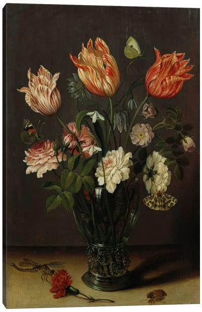 Tulips with other Flowers in a Glass on a Table  Canvas Art Print