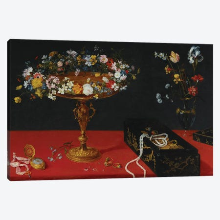 A Garland of Flowers in a Tazza  Canvas Print #BMN5496} by Jan Brueghel the Younger Art Print