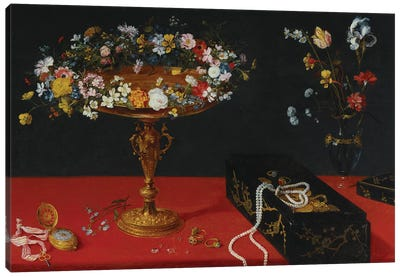A Garland of Flowers in a Tazza  Canvas Art Print