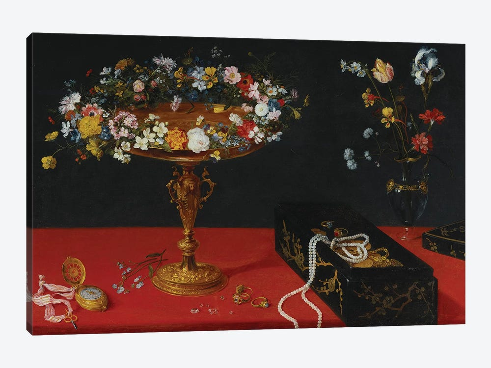 A Garland of Flowers in a Tazza  by Jan Brueghel the Younger 1-piece Canvas Art Print