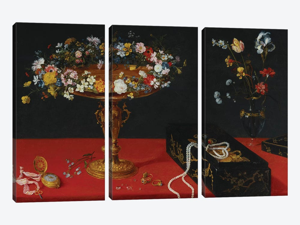 A Garland of Flowers in a Tazza  by Jan Brueghel the Younger 3-piece Canvas Print
