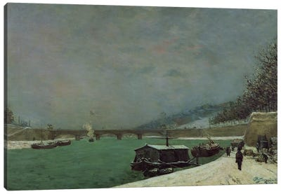 The Seine at the Pont d'Iena, Winter, 1875  Canvas Art Print