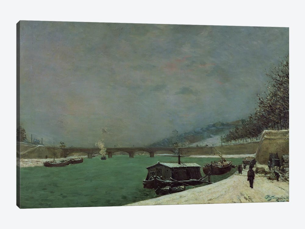 The Seine at the Pont d'Iena, Winter, 1875  by Paul Gauguin 1-piece Canvas Art