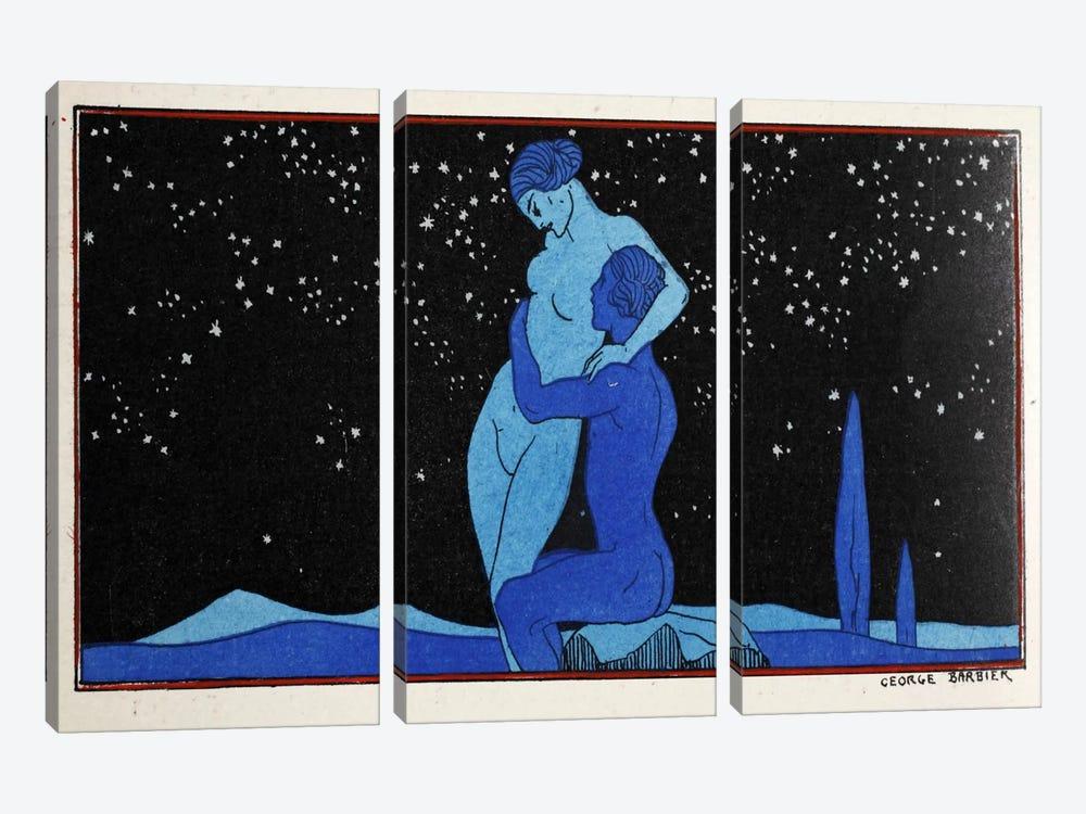 Evening (pochoir print) by George Barbier 3-piece Canvas Print