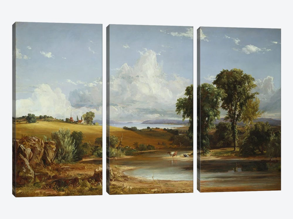 Summer Afternoon on the Hudson, 1852  by Jasper Francis Cropsey 3-piece Canvas Art Print