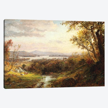 View of the Hudson, 1883  Canvas Print #BMN5508} by Jasper Francis Cropsey Canvas Wall Art