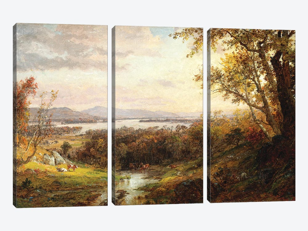 View of the Hudson, 1883  by Jasper Francis Cropsey 3-piece Canvas Art Print