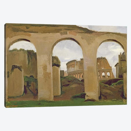 The Colosseum, seen through the Arcades of the Basilica of Constantine, 1825  Canvas Print #BMN550} by Jean-Baptiste-Camille Corot Canvas Artwork