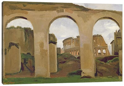 The Colosseum, seen through the Arcades of the Basilica of Constantine, 1825  Canvas Art Print