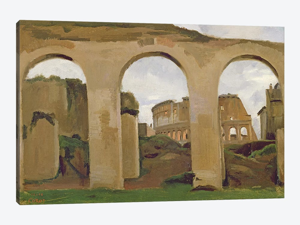 The Colosseum, seen through the Arcades of the Basilica of Constantine, 1825  by Jean-Baptiste-Camille Corot 1-piece Canvas Artwork