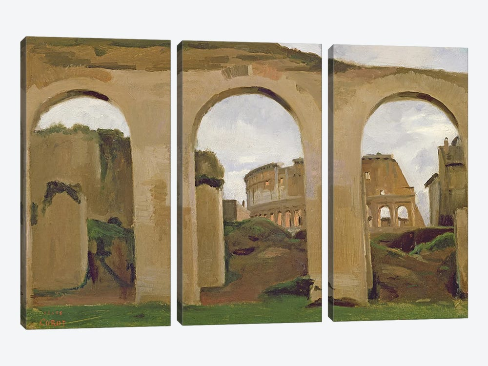 The Colosseum, seen through the Arcades of the Basilica of Constantine, 1825  by Jean-Baptiste-Camille Corot 3-piece Canvas Artwork