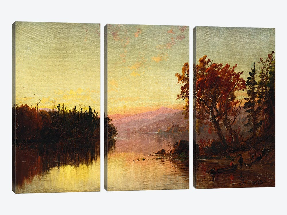 Greenwood Lake at Twilight, 1873 by Jasper Francis Cropsey 3-piece Canvas Print