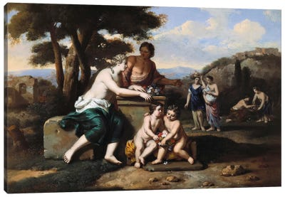 Nymphs gathering Flowers in a Landscape  Canvas Art Print