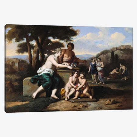Nymphs gathering Flowers in a Landscape  Canvas Print #BMN5512} by Gerard Hoet Canvas Art Print