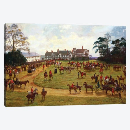 The Cheshire Hunt - the Meet at Calveley Hall  Canvas Print #BMN5515} by George Goodwin Kilburne Canvas Art