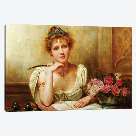 The Letter  Canvas Print #BMN5516} by George Goodwin Kilburne Canvas Wall Art