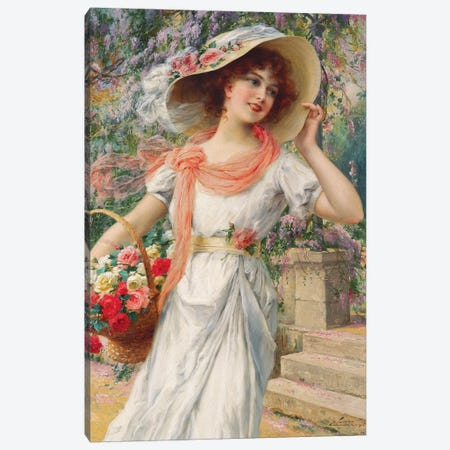 The Flower Girl  Canvas Print #BMN5517} by Emile Vernon Canvas Wall Art