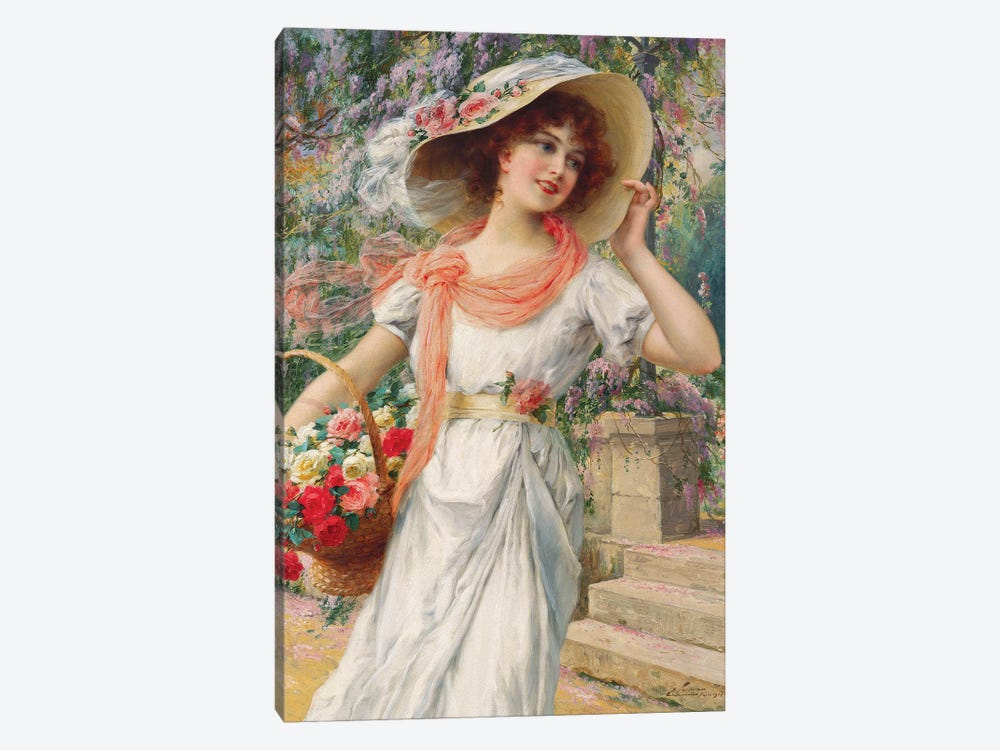 The Flower Girl  by Emile Vernon 1-piece Canvas Art Print