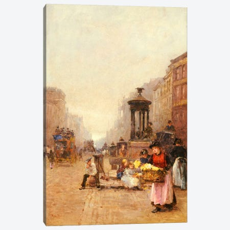 Flower Girls in the Strand, 1892  Canvas Print #BMN5522} by Rose Maynard Barton Canvas Wall Art