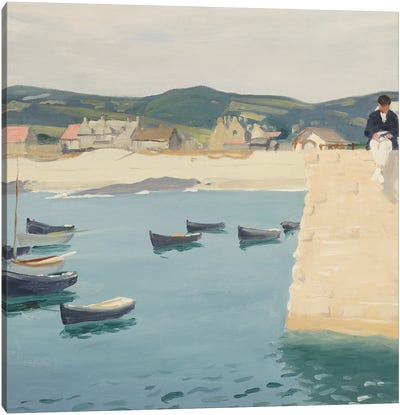 Boy Reading on a Harbour's Edge  Canvas Art Print